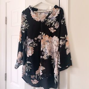 Liberty Love Black Floral Top Size XL